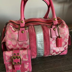 Vintage Pink Coach Purse and Wallet Set